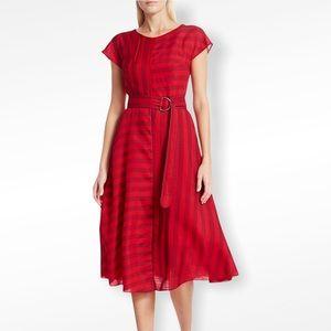 Akris Punto Red Stripe Belted Midi Dress NWT
